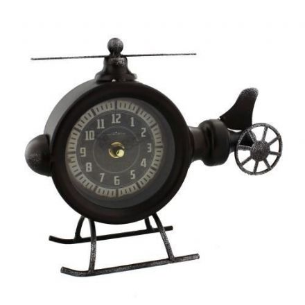 Helicopter Metal Mantel or Desk Clock